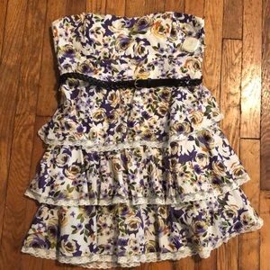 NWT { B. Smart }Strapless Floral Tiered Dress 16